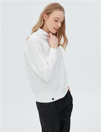 Boğazlı Kolları Deri Sweatshirt Ekru B20 10020