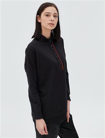 Patı Kontrast Renk Biyeli Sweatshirt Siyah B20 10032
