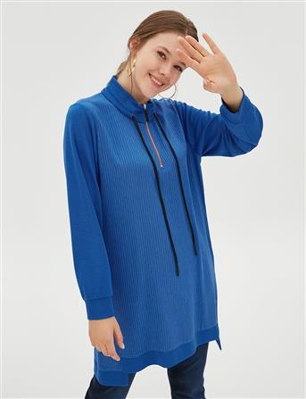 Çizgili Yarım Fermuarlı Sweatshirt Saks B20 21070