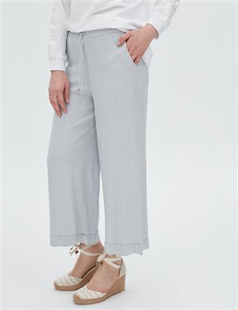 Bağcıklı Bol Paça Çizgili Pantolon Gri B20 19037