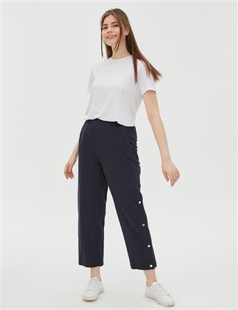 Yandan Çıt Çıt Detaylı Pantolon Lacivert B20 19044