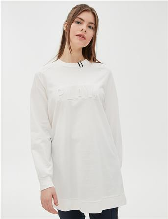 Kabartma Baskı Detaylı Sweatshirt Optik Beyaz B20 10026