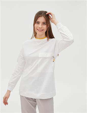 Renkli Sıfır Yaka Sweatshirt Ekru B20 10053