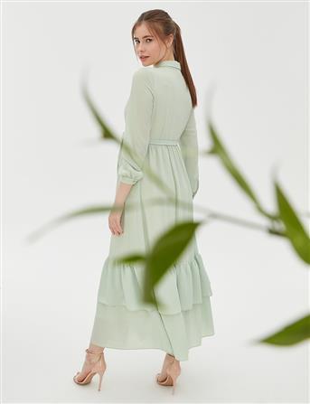 Kelebek Motifli Kuşaklı Elbise Su Yeşili B20 23100