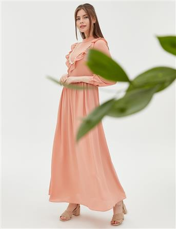 KYR Fisto ve Fırfır Detaylı Uzun Elbise Somon B20 83012