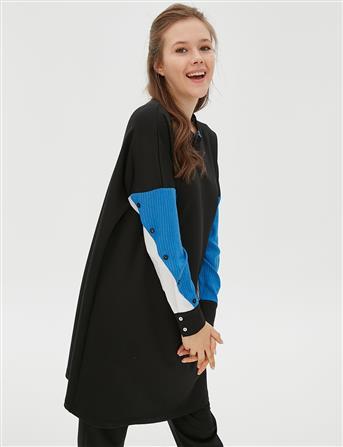 Kolları Renkli Sweatshirt Siyah B20 21069