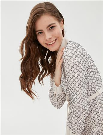KYR Kuşaklı Güpür Elbise Ekru B20 83011