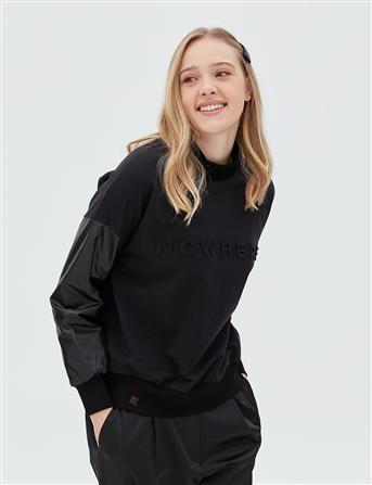 Boğazlı Kolları Deri Sweatshirt Siyah B20 10020