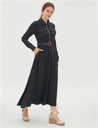 Kemerli Çizgili Uzun Elbise Lacivert B20 23040