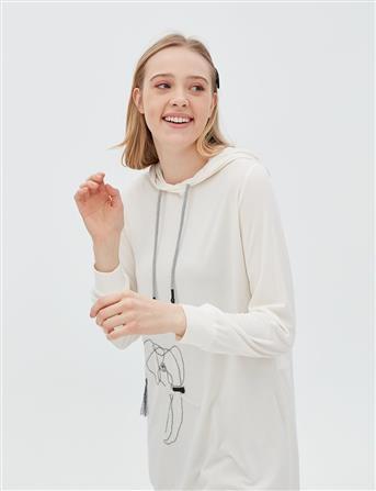Fil Motifli Kapüşonlu Sweatshirt Ekru B20 21024