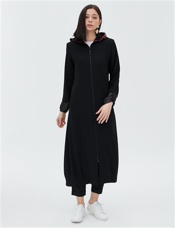 Kapüşonunda Pul Payet Detaylı Uzun Giy-Çık Siyah B20 25010