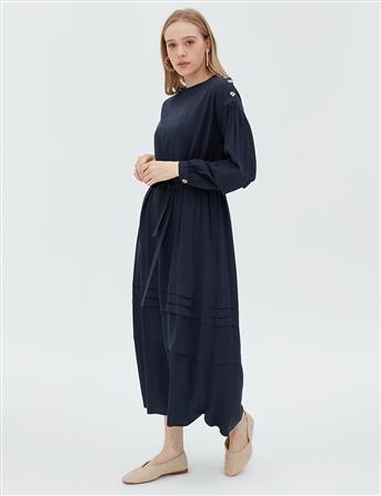 Beli Kuşaklı Katlı Elbise Lacivert B20 23006