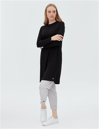Basic Uzun Penye Bluz Siyah SZ 10506