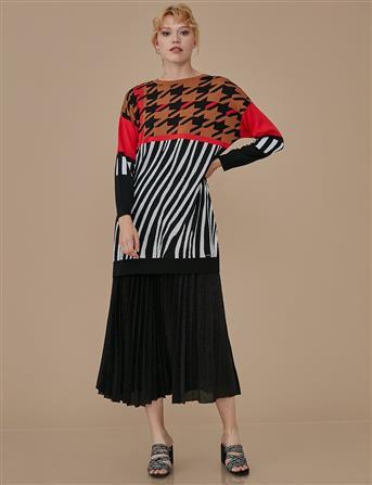 Desenli Triko Tunik Siyah Kırmızı A9 TRK12