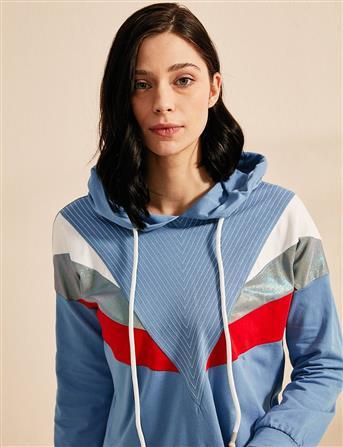 KYR Kapüşonlu Sweatshirt Mavi B20 81322