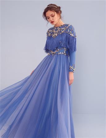 TIARA Taş İşlemeli Püskül Detaylı Uzun Abiye Mavi B9 26039