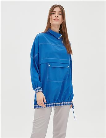 Etek Ucu Büzgülü Sweatshirt Mavi B20 21056