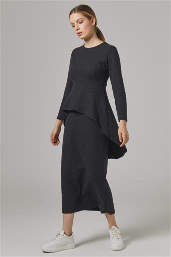 Bluzu Volanlı Etekli Takım-Siyah UU-9W5069-01