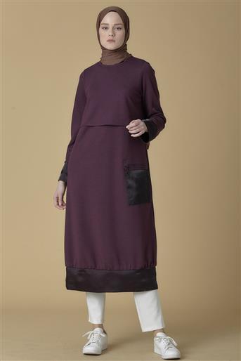 Armine Cep Detaylı Tunik Elbise Mürdüm 9K9850