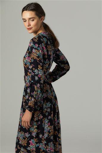 Çiçek Desen Elbise-Siyah-Gül US-0S5050-01-108