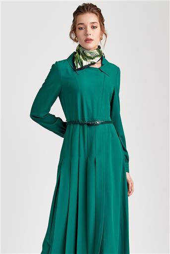 Pileli ve Hasır Kemerli Yazlık Yeşil Pardesü V20YPRD37001