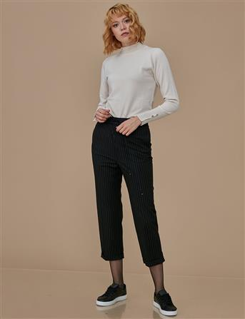 Duble Paça Çizgili Pantolon Siyah A9 19059