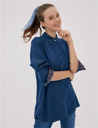Arkası Çaprazlı Tensel Bluz Lacivert A20 11008