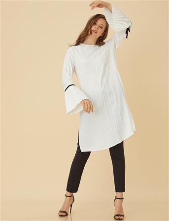Kolları Pliseli Tunik Beyaz B9 21193