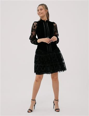 Hakim Yaka Dantelli Elbise Siyah B20 23024