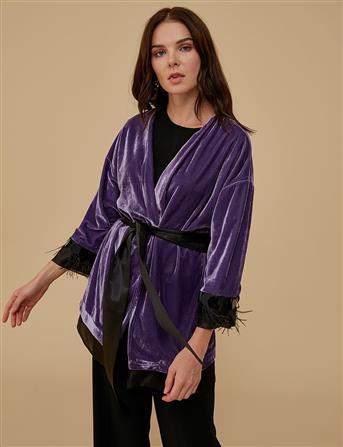 Organze Detaylı Kadife Kimono Lila A9 13110