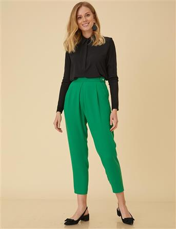Pilikaşe Detaylı Pantolon Yeşil B9 19100