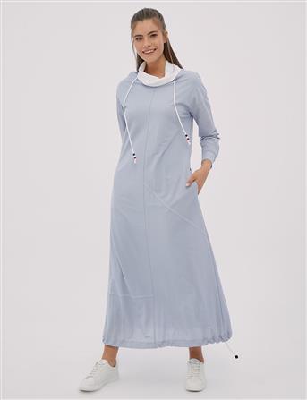 Asimetrik Parçalı, Etek Ucu Büzgülü Spor Elbise Mavi B20 23010