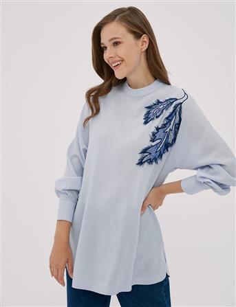 Yaprak Nakışlı Bluz Açık Mavi B20 10062