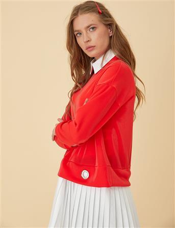 Etek Ucu Pilili Bluz B9-10138 Kırmızı