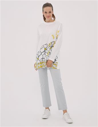 Çiçek Desen Baskılı, Kırçıllı Bluz Beyaz B20 10080
