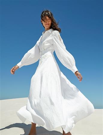 Balon Kol Fisto Detay Elbise Beyaz B20 23065