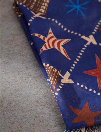 Yıldız Desenli Pamuk Şal | Lacivert B9 SAL14