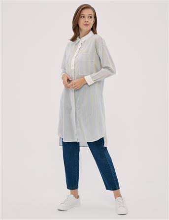 Çizgili Gömlek Yaka Tunik Mavi A20 21027