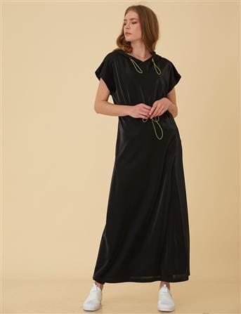 Kısa Kollu Kapüşonlu Spor Elbise Siyah B9 23083