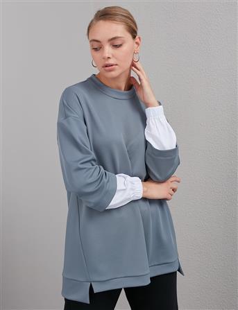 KYR Taş İşlemeli Sweatshirt Koyu Gri A20 81553