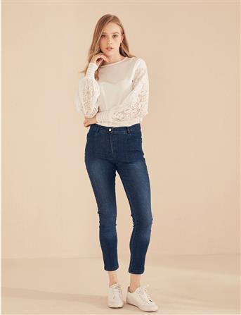 Skinny Denim Pantolon Lacivert B20 19015