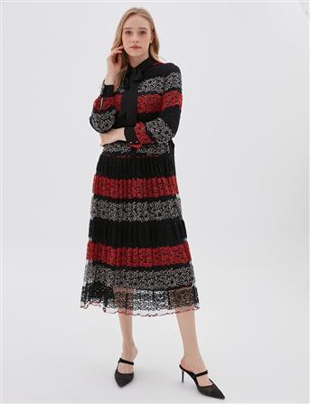 Piliseli Dantel Elbise Kırmızı B20 23044