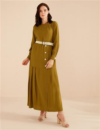 Piliseli Düğmeli Elbise Yeşil B20 23071