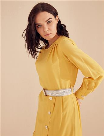 Piliseli Düğmeli Elbise Sarı B20 23071