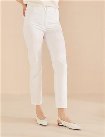 Boru Paça Kanvas Pantolon Beyaz B20 19217