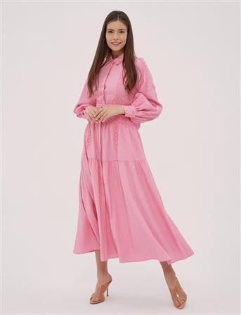 Balon Kol Fisto Detay Elbise Pembe B20 23065