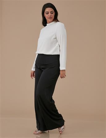 Geniş Paça Işıltılı Pantolon Siyah A9 19068