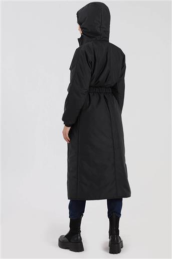 Kapşonlu Kemerli Kadın Şişme Mont Siyah Oranj V20KKPM27042