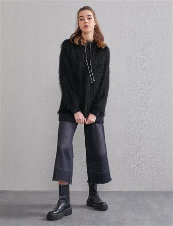 Kapüşonlu Tüylü İp Sweatshirt Siyah A20 31011