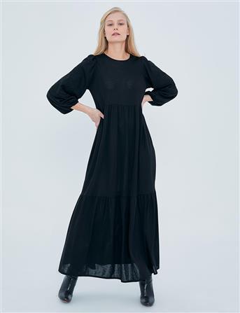 Kolları İşlemeli Elbise Siyah A20 23126